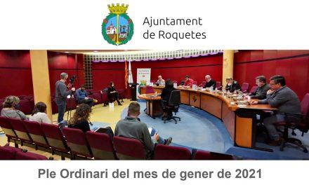 Ple Ordinari de l'Ajuntament de Roquetes del mes de gener de 2021