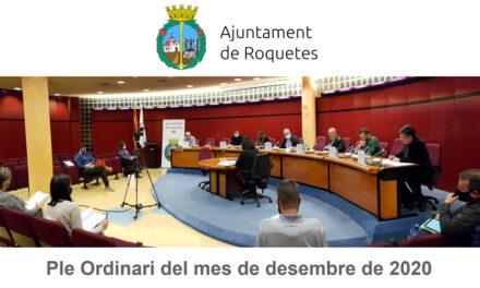 Ple Ordinari de l'Ajuntament de Roquetes del mes de desembre de 2020