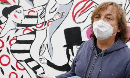 """Festa del 14 d'abril de Roquetes – Ignasi Blanch pinta el mural """"L'amor no fa mal"""" a la Raval de Cristo"""