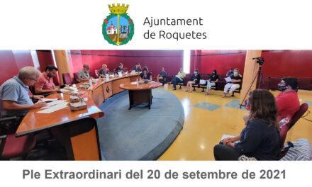 Ple Extraordinari de l'Ajuntament de Roquetes del 20 de setembre de 2021